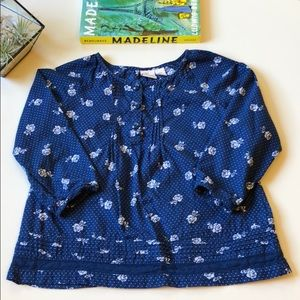 Children's Place | Navy Rose Print Blouse | 3T